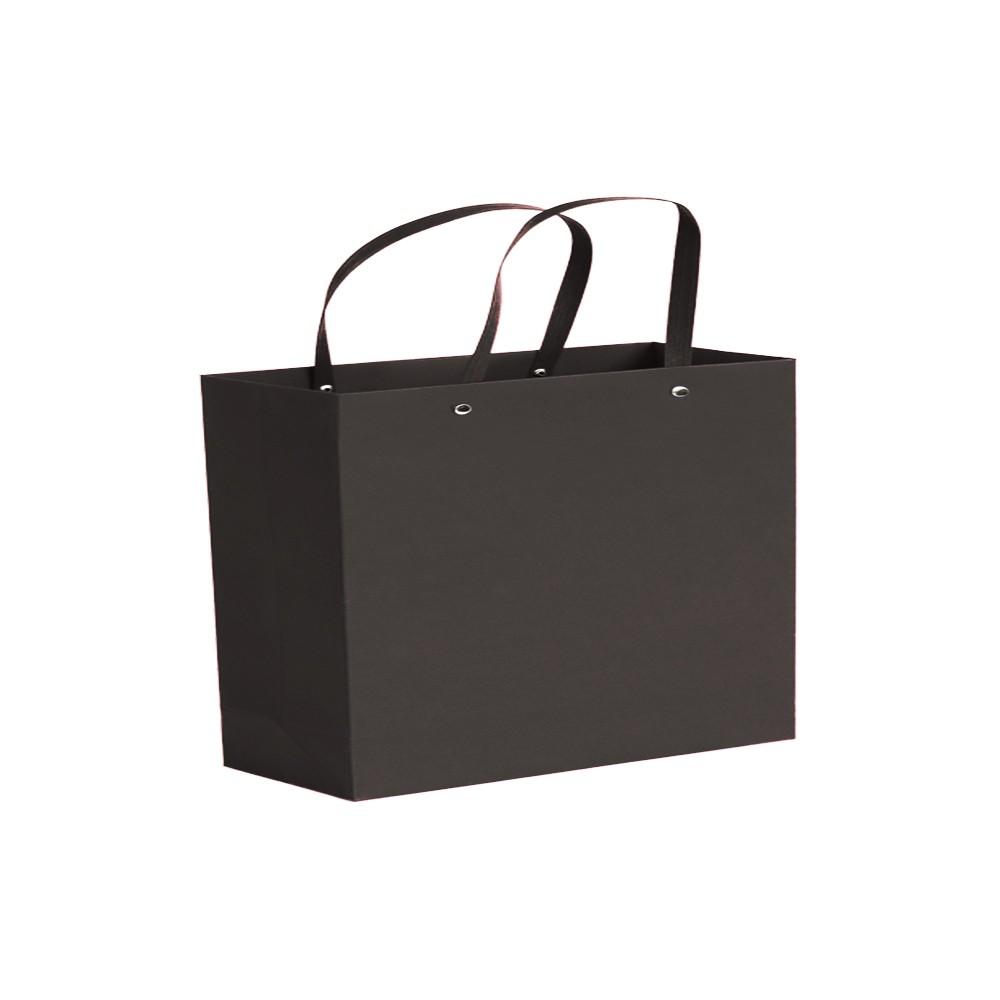 "Black Kraft Paper Bags with Rivet String Handle Shopping Bags 22 cm x 22 cm x 8 cm (8.5"" x 8.5"" x 3"") (200 Bags/Lot)"