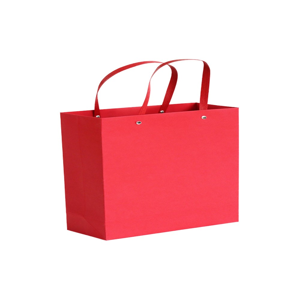 "Red Kraft Paper Bags with Rivet String Handle Shopping Bags 27 cm x 20 cm x 13 cm (10.5"" x 7.75"" x 5"") (100 Bags/Lot)"