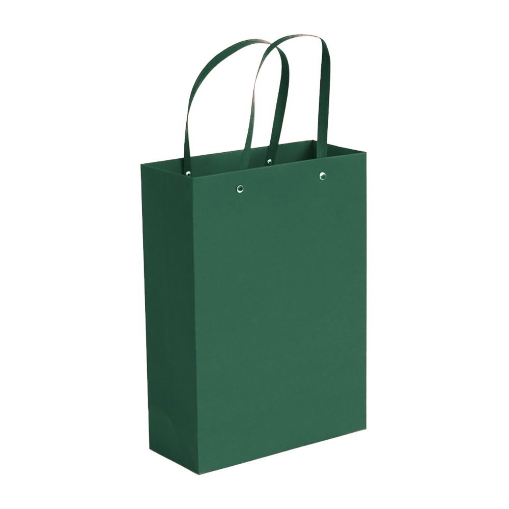 "Green Kraft Paper Bags with Cotton Handle Shopping Bags 20 cm x 27 cm x 13 cm (7.75"" x 10.5"" x 5"") (100 Bags/Lot)"