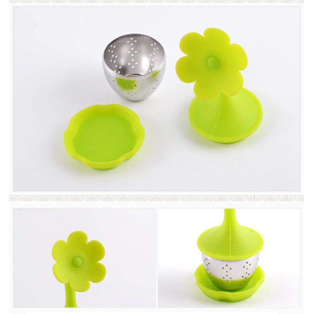 Green Silica Gel & Stainless Steel Flower Infuser for Loose Leaf Tea with Drip Tray 100 Pieces/Lot