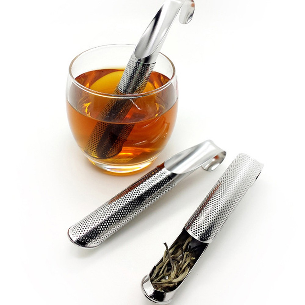 Silver Stainless Steel Tea Pipe Infuser for Loose Leaf Tea Resusable Strainer Filter 100 Pieces/Lot