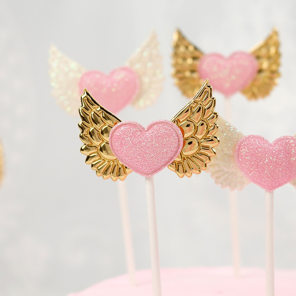 Pink Heart with Gold Wing Non Woven & Paper Decorative Food Picks(1200 Picks/Lot)