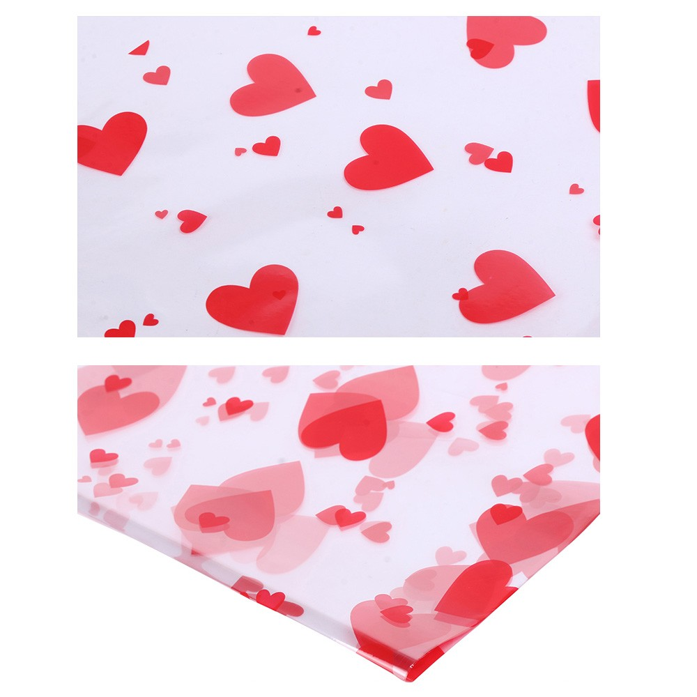 Glossy Red Plastic Heart Patterned Sheets for Crafts, Gifts and Baskets 56 cm x 54 cm (22 inches x 21.25 inches) (400 Sheets/Lot)