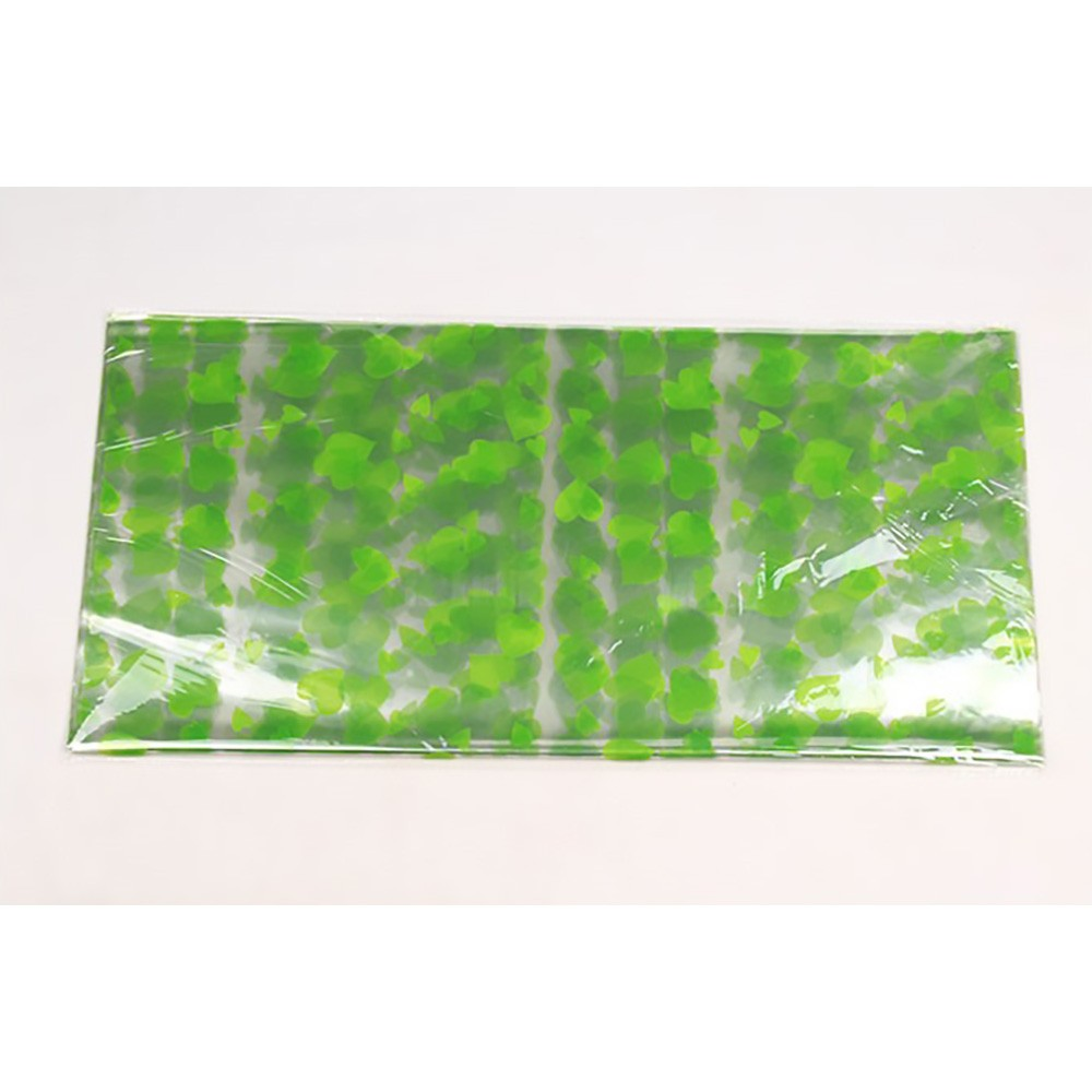 Glossy Green Plastic Heart Patterned Sheets for Crafts, Gifts and Baskets 56 cm x 54 cm (22 inches x 21.25 inches) (400 Sheets/Lot)