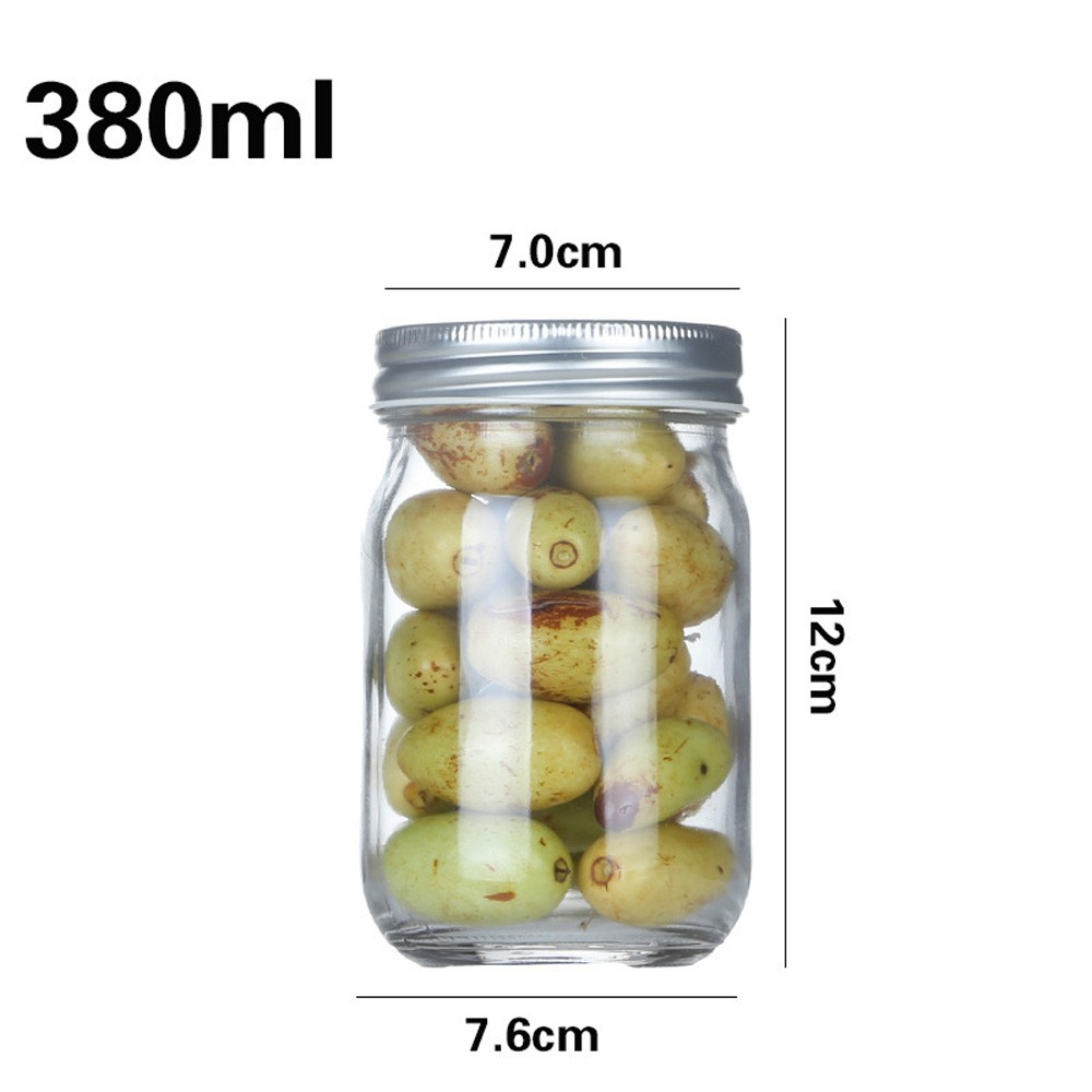 """380ml Food Safe Clear Jar with Silver Lid for Gifts and Party Favors [2.75""""x4.5""""x2.75""""] [60 UNITS/LOT]"""
