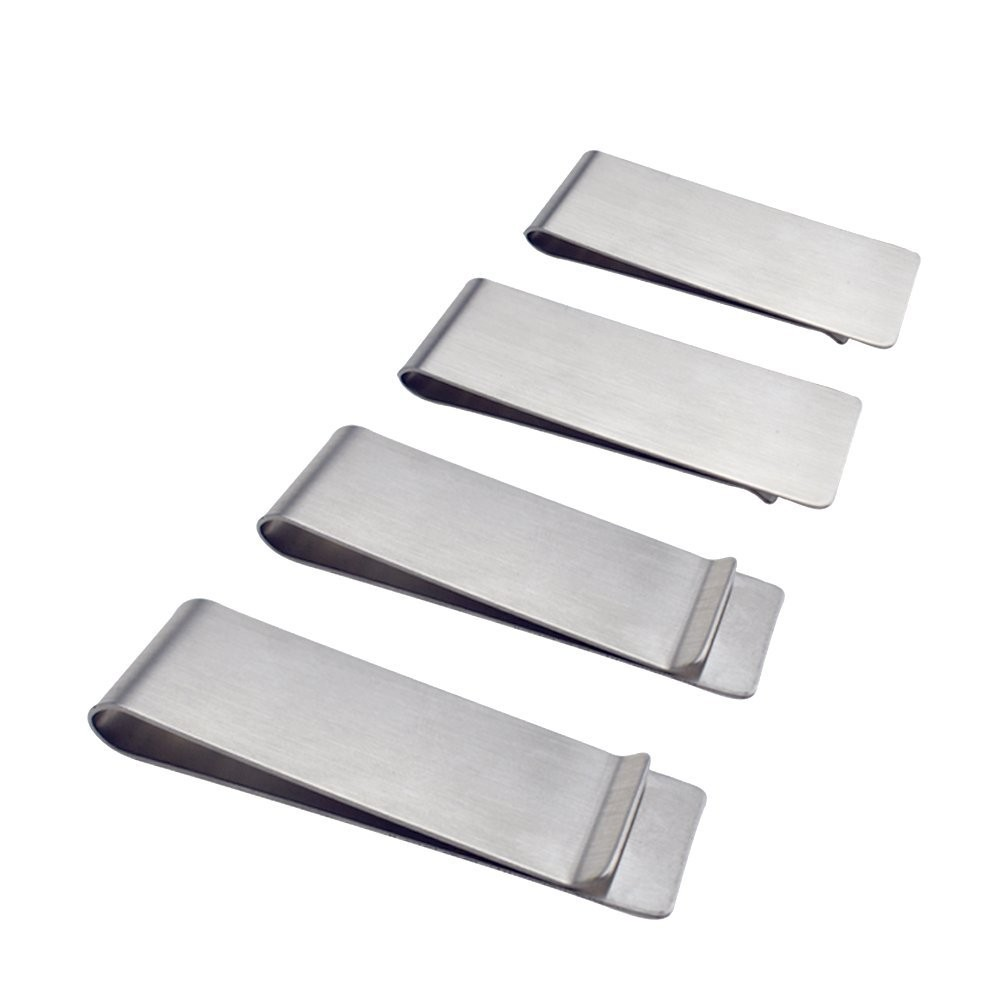 Single Sided Silver Polished Stainless Steel Men's Fashion Money Clip For Cash and Cards (200/lot)