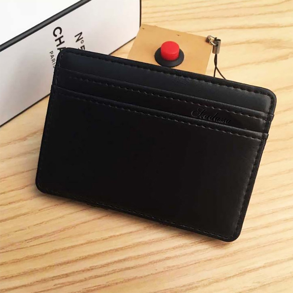 Black Leather Slim Minimalistic Magic Slim Wallet (80pcs/lot)