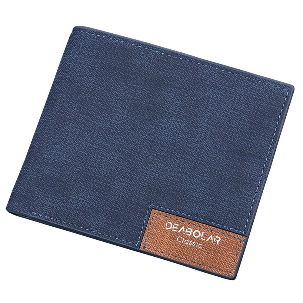 Vintage Korean Style Blue PU Leather Super Slim Billfold Wallet (80pcs/lot)