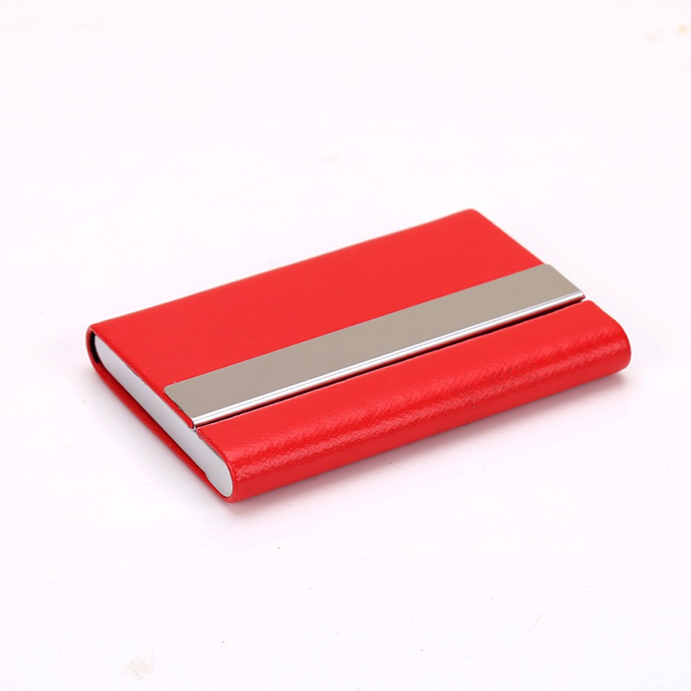Slim Red Metallic Card Holder Wallet with Magnetic Flip Top (80/lot)