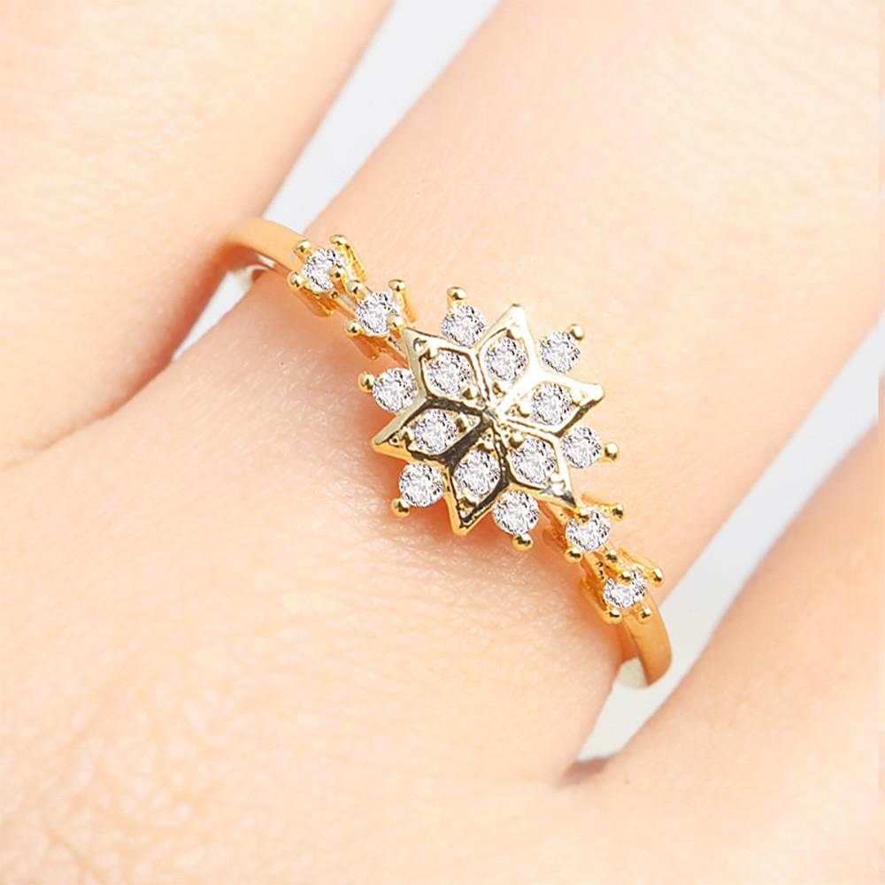 Gold Snowflake Rhinestone Ring 8(US) - 100/Lot