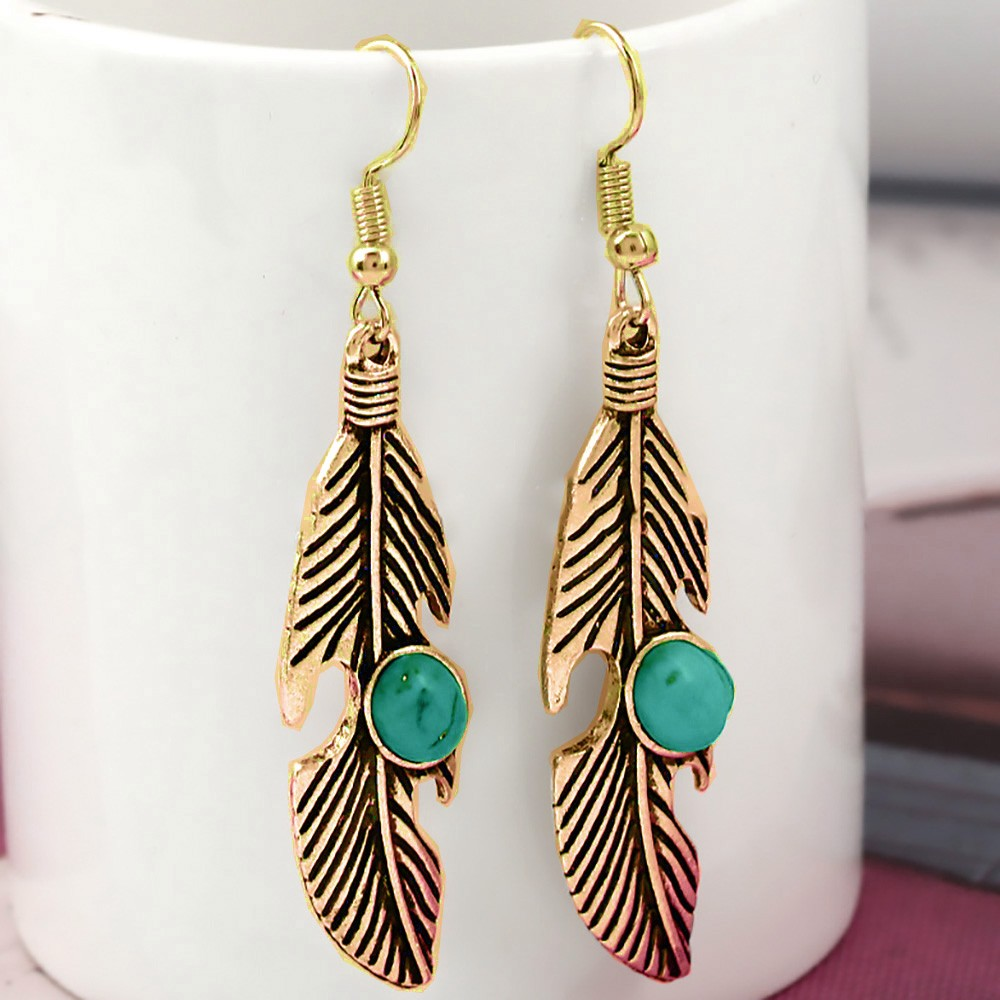 Gold Feather-Shaped Leaf Drop Earrings - 200/Lot