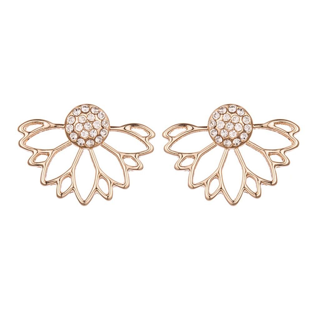 "Gold Diamond Hollow Lotus Jacket Earrings 2.5cm x 1.8cm (0.75"" x 0.5"") - 100/Lot"