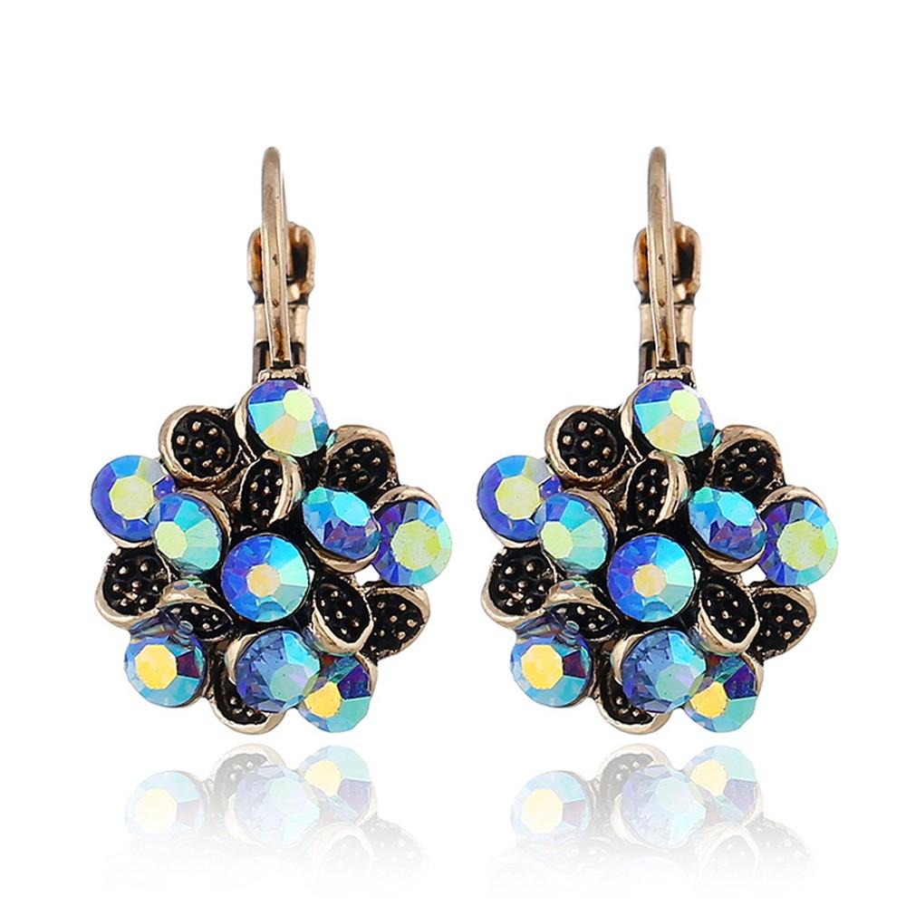 Blue Flower Leverback Earrings - 200/Lot