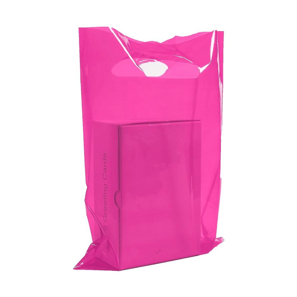 "Glossy Pink Reusable Flat Die Cut Handle Bags 20 cm x 30 cm (7.75"" x 11.75"") (1100 Bags/Lot)"