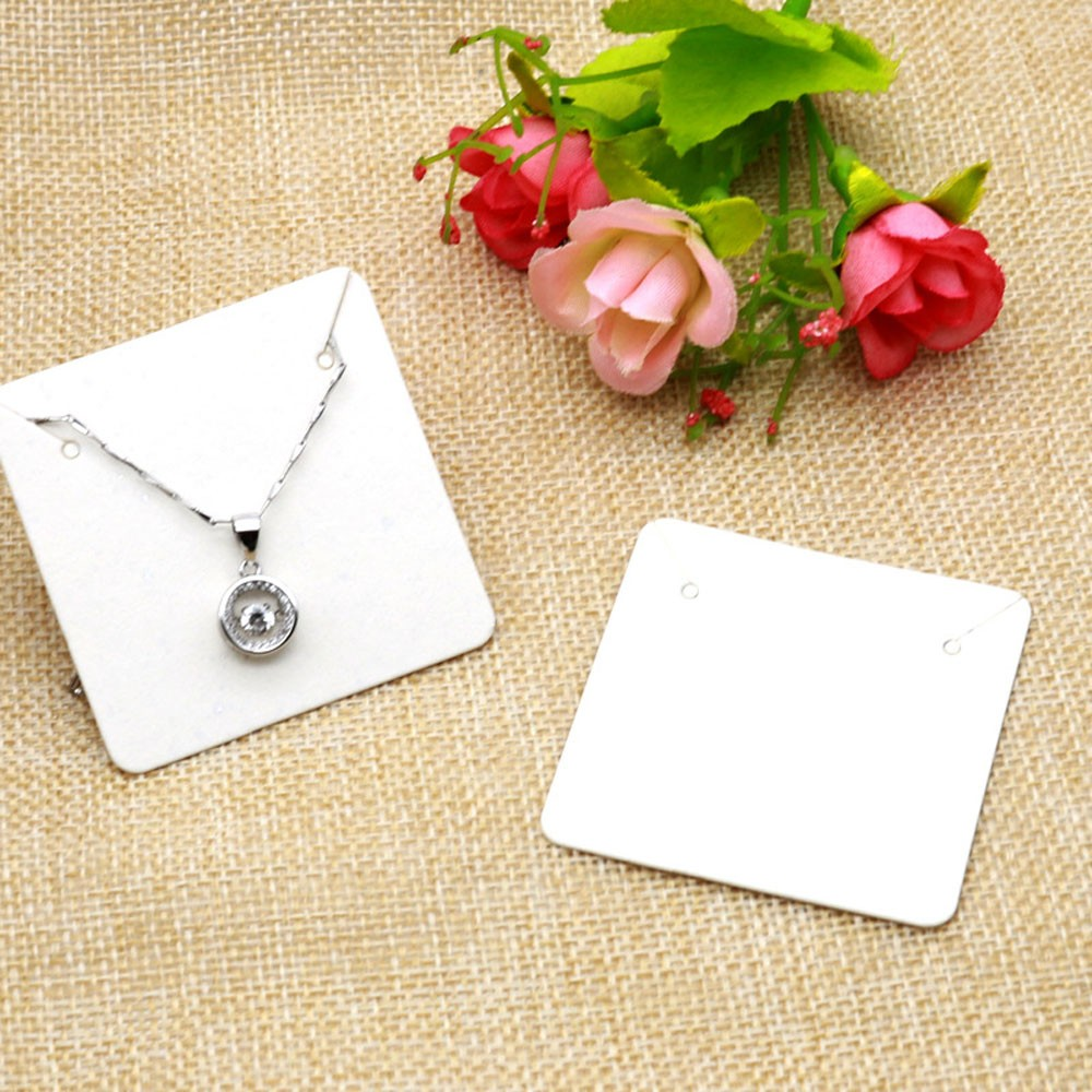 White Square Necklace Display Card (1.75 inches x 1.75 inches) [2380 Cards/Lot]