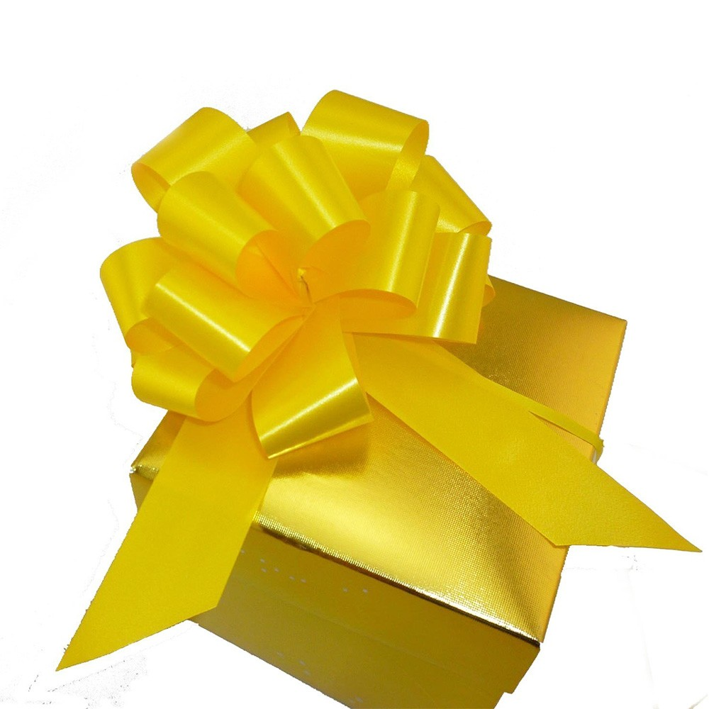 """Smooth Gold Polyester Ribbon for Flower Wrapping Florist Size #9 (1.5"""" x 25 Yards) [80 Rolls/Lot]"""