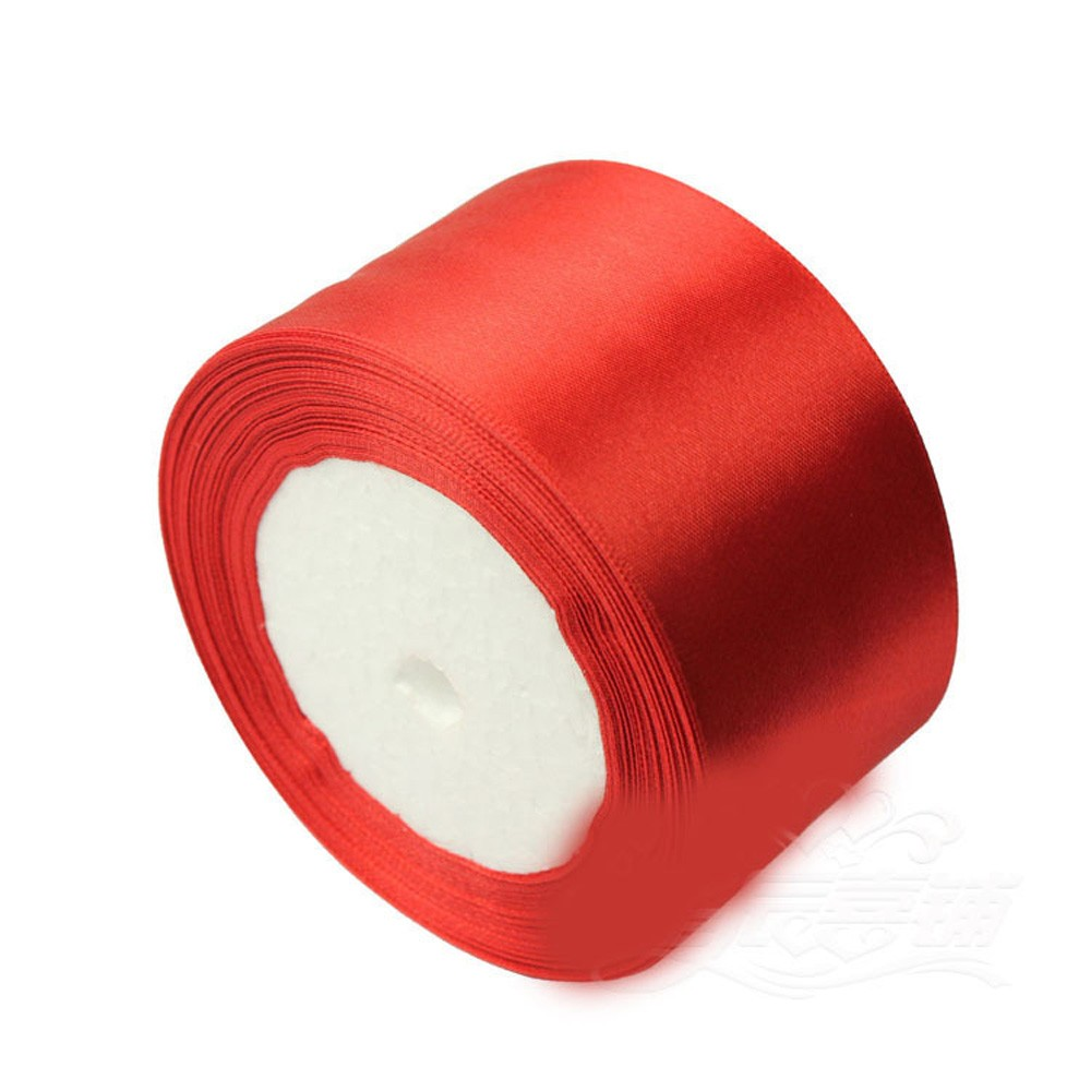 """Smooth Red Polyester Ribbon for DIY Bows (2"""" x 25 Yards) [60 Rolls/Lot]"""