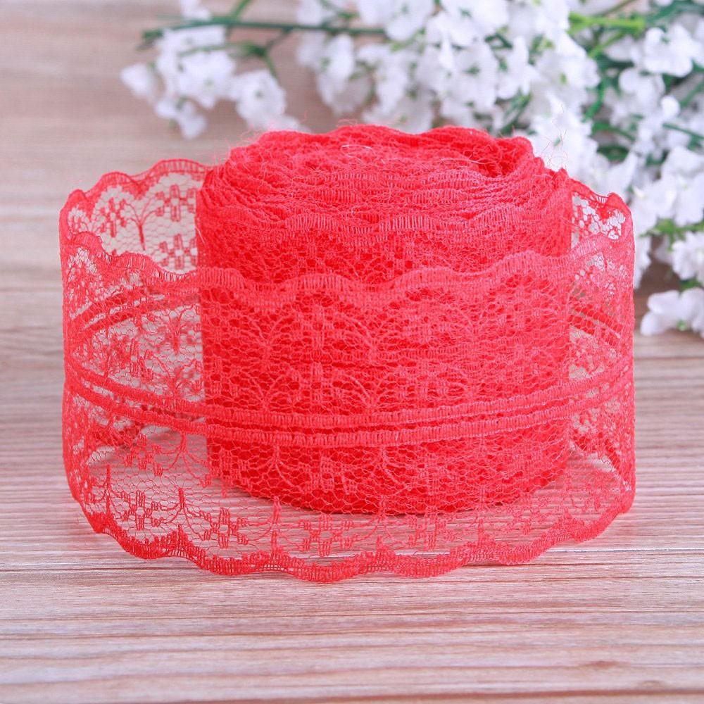 "Red Lace Floral Pattern Trim for Floral Arrangements (1.75"" x 2 Yards) [400 Rolls/Lot]"