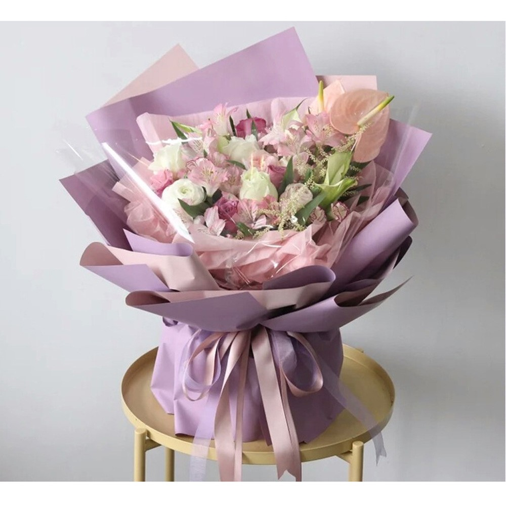 Double Sided Light Pink and Light Lilac Paper for Gift Packaging (22.75 inches x 22.75 inches) [800 Sheets/Lot]