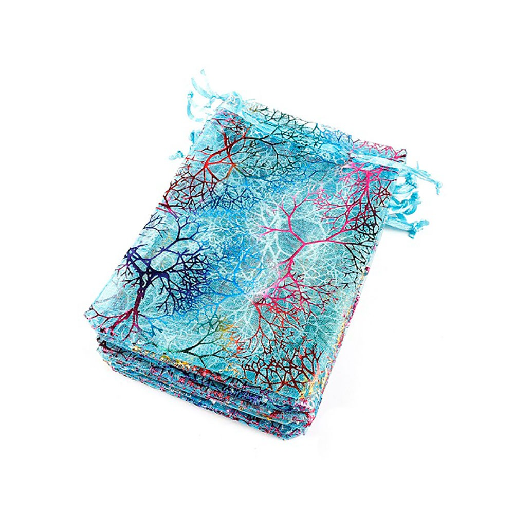 Colorful Pattern Tree Branches Print Blue Organza Bag (3.75 inches x 5.75 inches) [1,100 Bags/Lot]