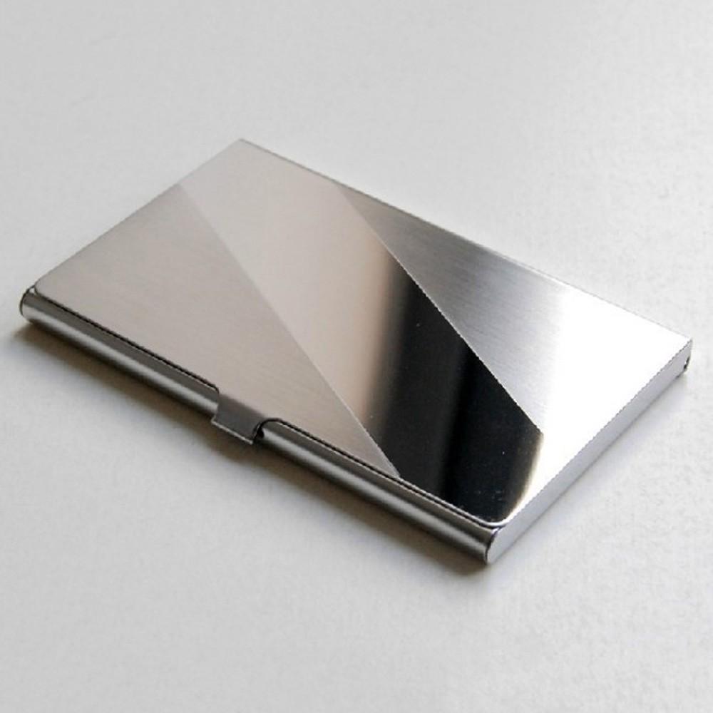 "Thin Sleek Silver Stainless steel Card Holder (3.5"" x 2.25"")"