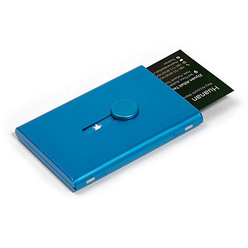 "Lightweight Thin Blue Stainless Steel Card Slider Holder 3.75"" x 2.5"""