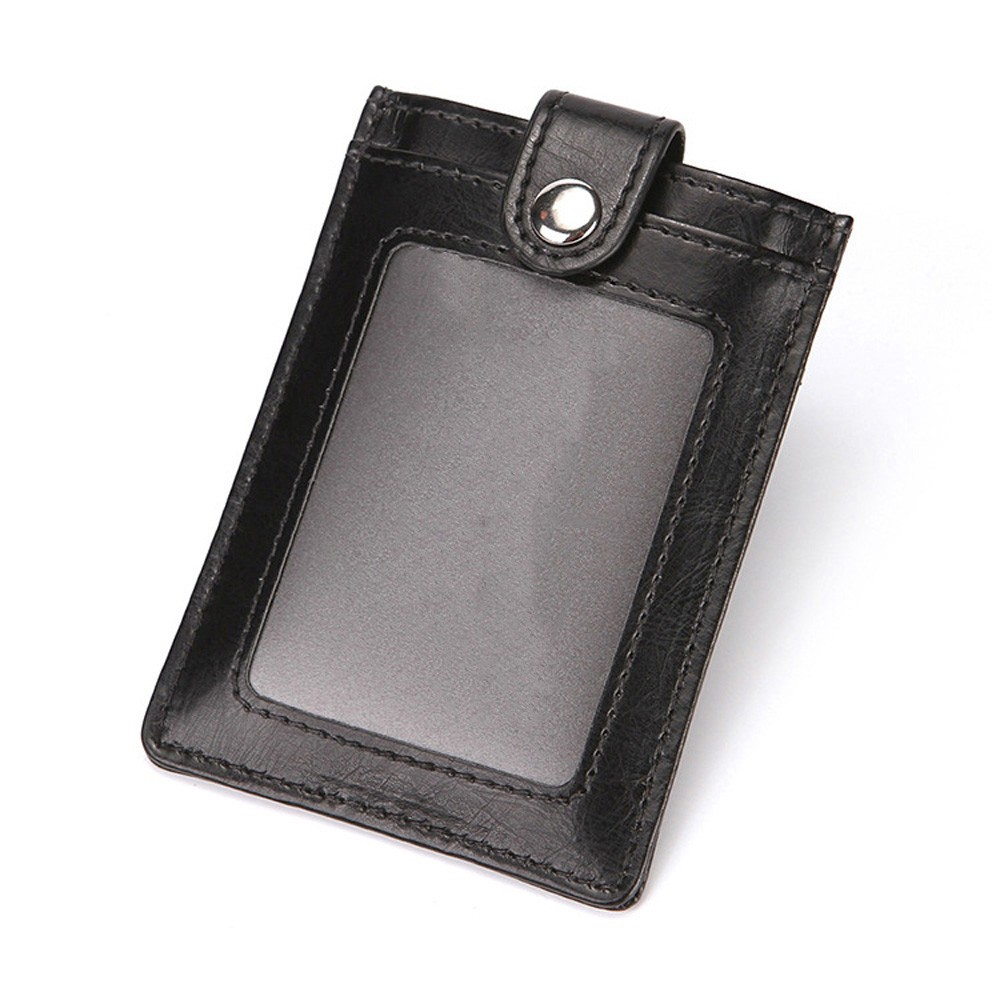 "Button Secure Clasp Polyurethane Leather Wallet for Men and Women Black 3.75"" x 2.75"""