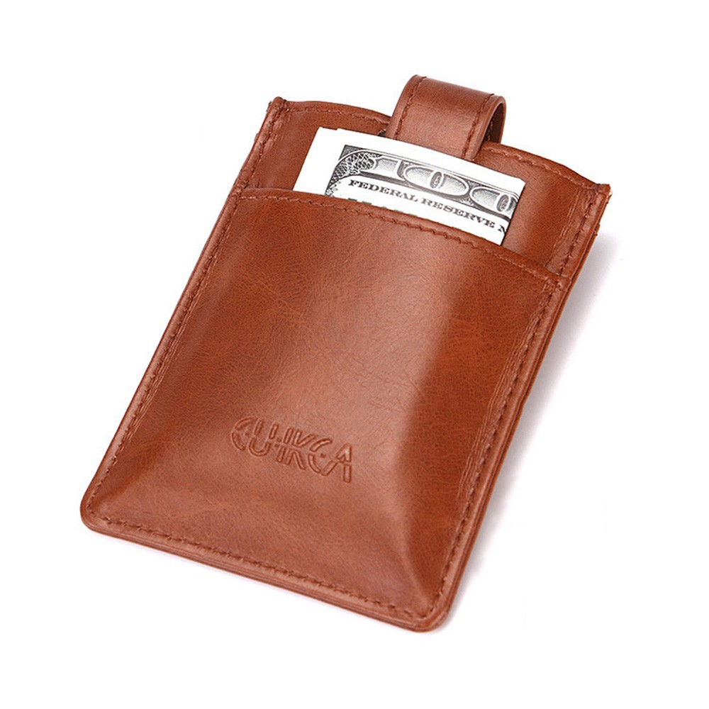 """Button Secure Clasp Polyurethane Leather Wallet for Men and Women Light Brown 3.75"""" x 2.75"""""""