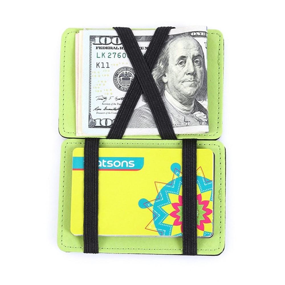 """Unconventional Premium Polyurethane Leather Minimalist Wallet Green 3.75"""" x 2.75"""""""