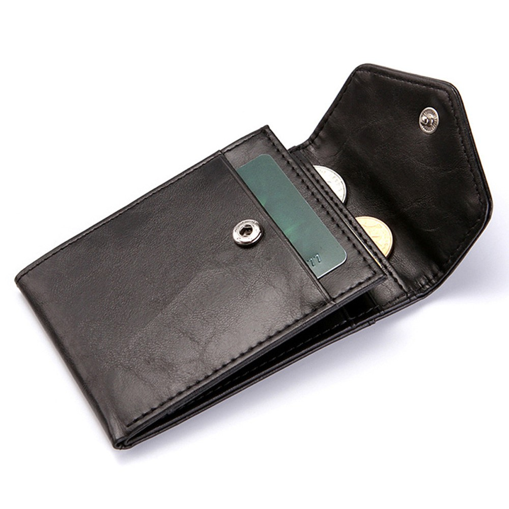 "Durable Slim Polyurethane Leather (PU Leather) Black Billfold Wallet with Button Closure 11cm x 7.8cm(4.25""x3"") [70pcs/Lot]"
