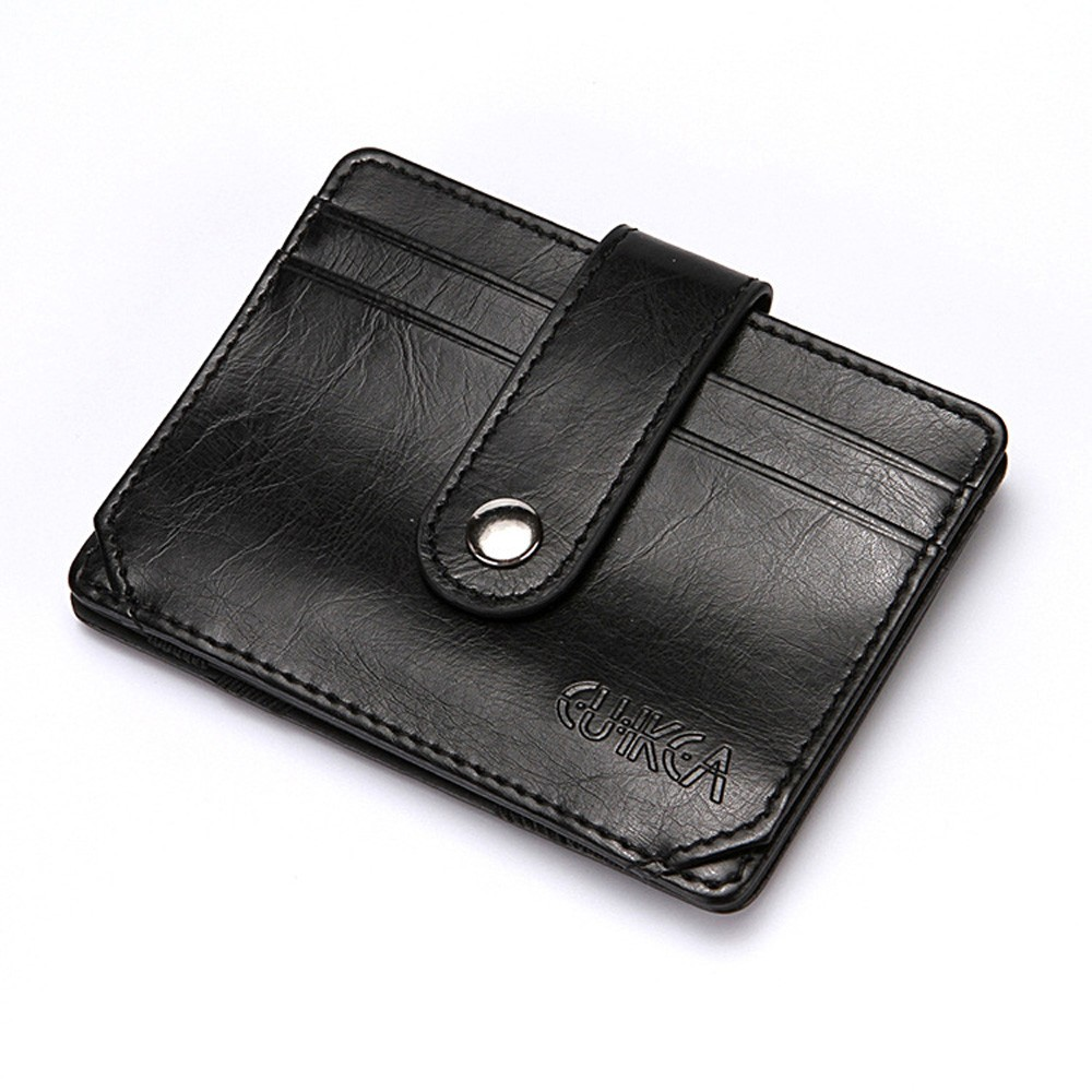 "Portable Slim Black Polyurethane Leather (PU Leather) Billfold Travel Wallet for Men 10.5cm x 7.8cm(4""x3"") [60pcs/Lot]"