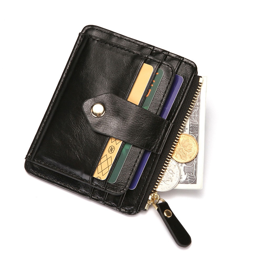 """Slim Stylish PU Leather Billfold Wallet and Card Holder Zipper Pouch Button Clasp [Black, 11.5cm x 9cm(4.5""""x3.5"""")]  [90pcs/Lot]"""