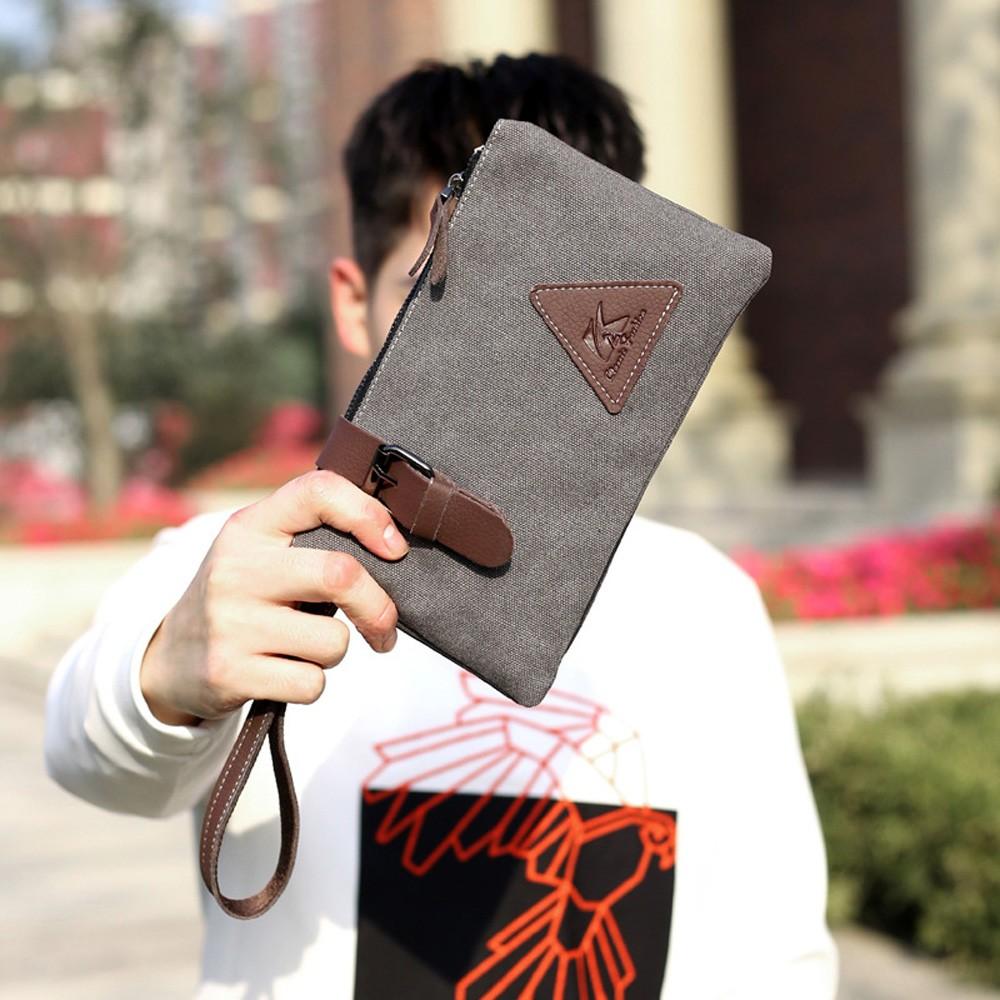 """Gray Canvas Fashionable Portable Wallet Hand Clutch Pouch 24cm x 14cm(9.25""""x5.5"""")[30pcs/Lot]"""