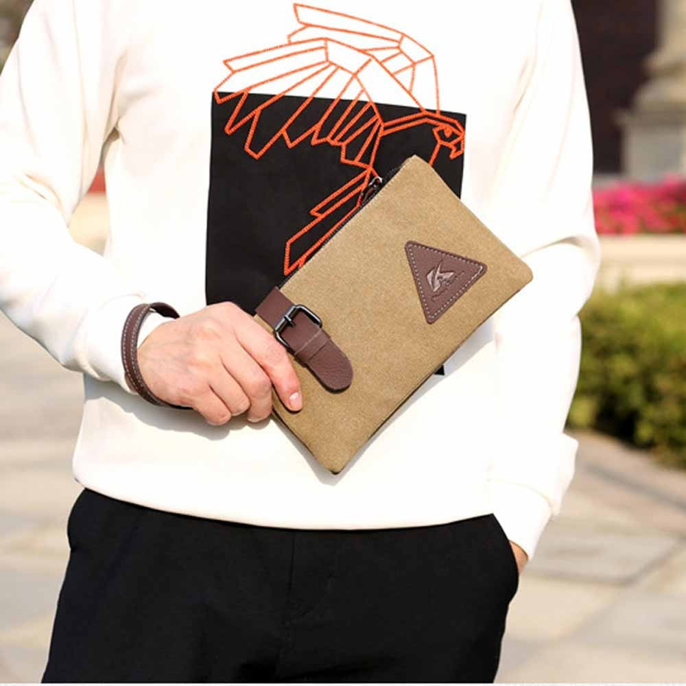 """Brown Canvas Fashionable Portable Wallet Hand Clutch Pouch 24cm x 14cm(9.25""""x5.5"""")[30pcs/Lot]"""