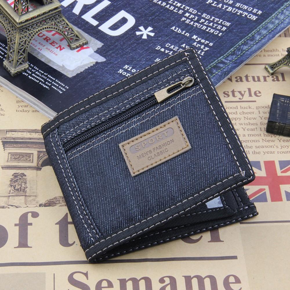 """Fashionable Premium Denim Canvas Bifold Wallet and Card Holder [Blue, 11cm x 10cm(4.25""""x3.75"""")] [90pcs/Lot]"""