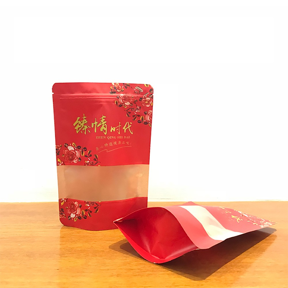 """Red Kraft Translucent Window Stand-Up Bags 26 cm x 18 cm + 8 cm (10"""" x 7"""" + 3"""") (600 Bags/Lot)"""