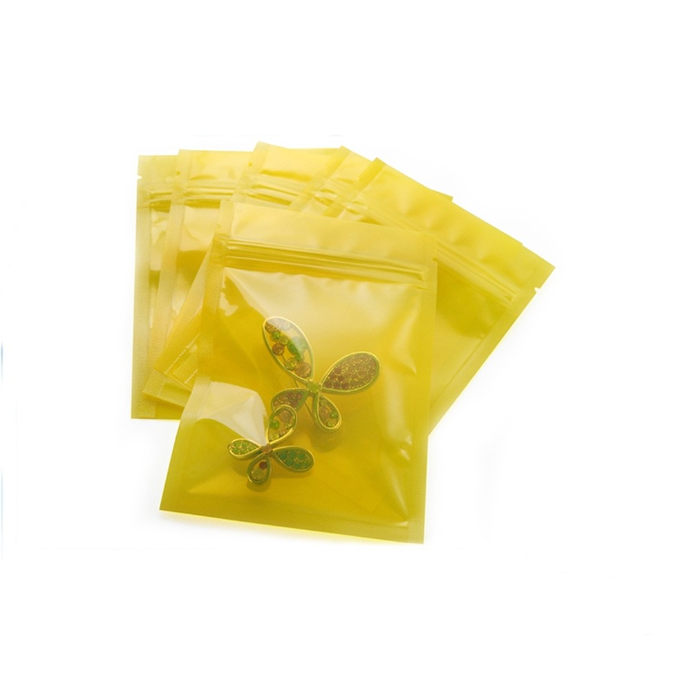 Transparent Yellow Poly Plastic Flat Ziplock Bags 8 cm x 12 cm [3.1 inches x 4.7 inches] (500 Bags/Lot)