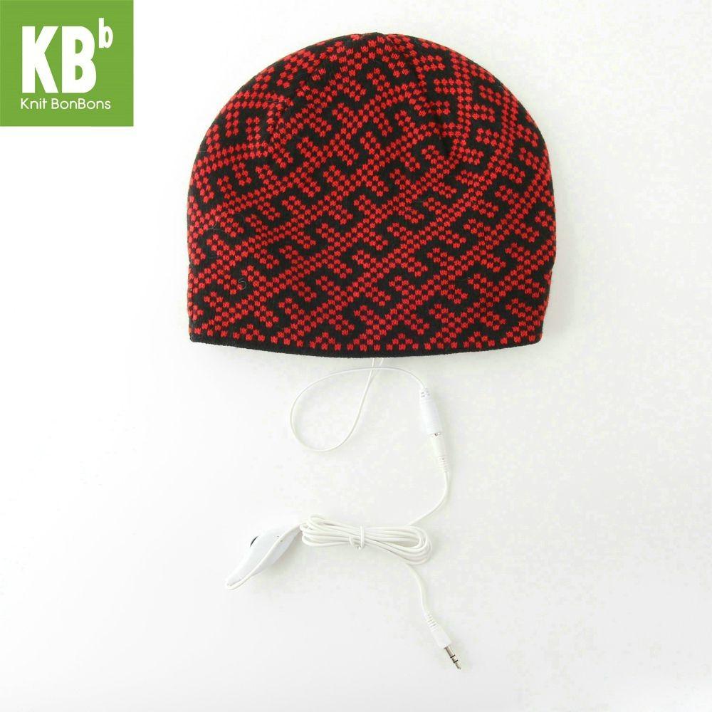 KBB Red Black Zipper Line Design Headphone Beanie Hat (3 Hats/Lot)