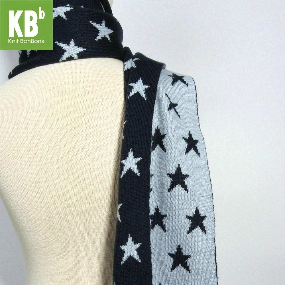 KBB Reversible Navy Blue & Light Blue Star Pattern Designs Neck Warmer Scarf (3 Scarves/Lot)