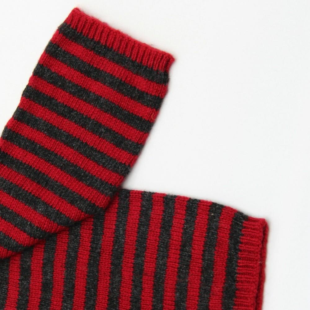KBB Soft Red & Gray Striped Pattern Winter Fingerless Gloves (3 Gloves/Lot)