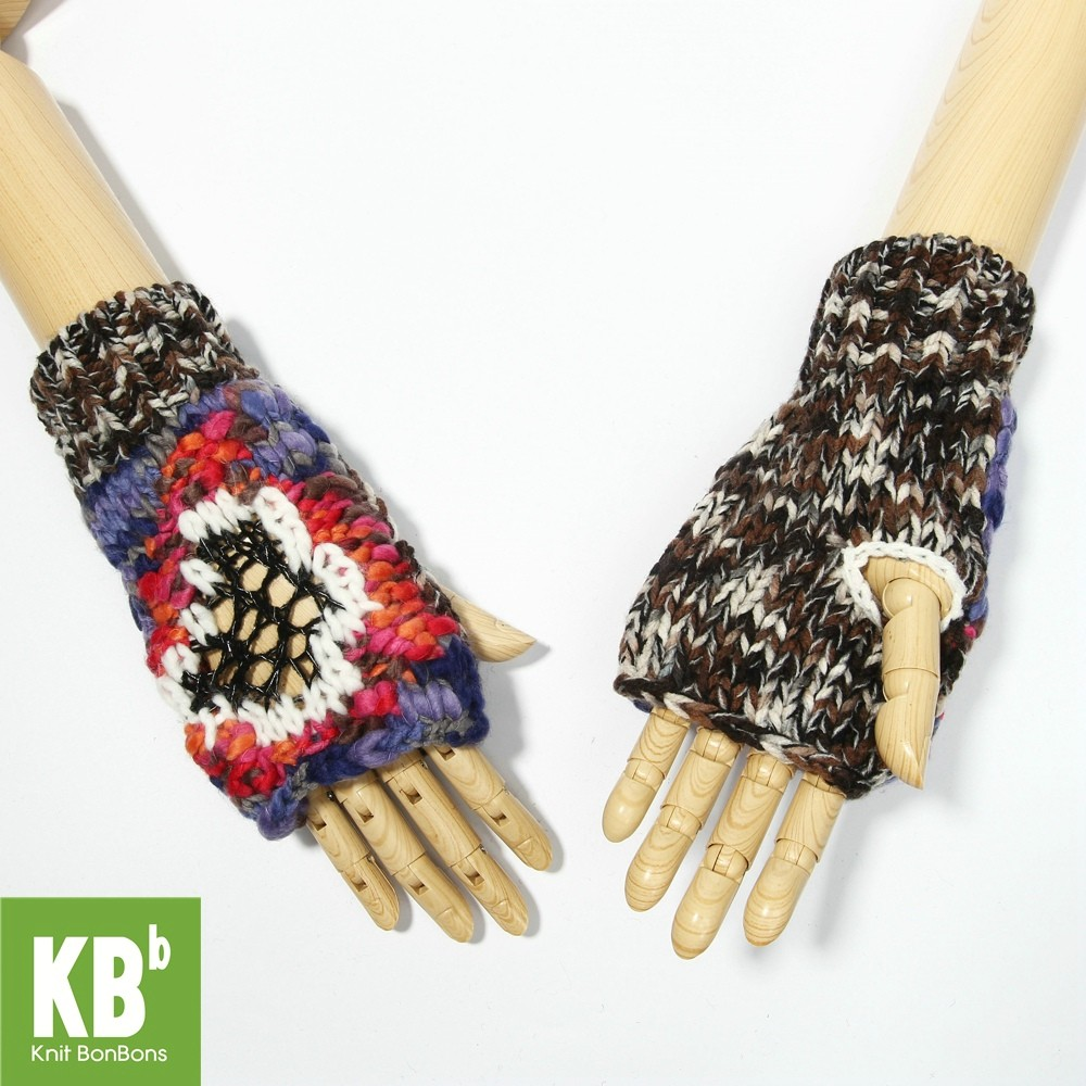 """KBB Colorful """"Thinking Out Loud"""" Knitted Winter Fingerless Gloves (3 Gloves/Lot)"""