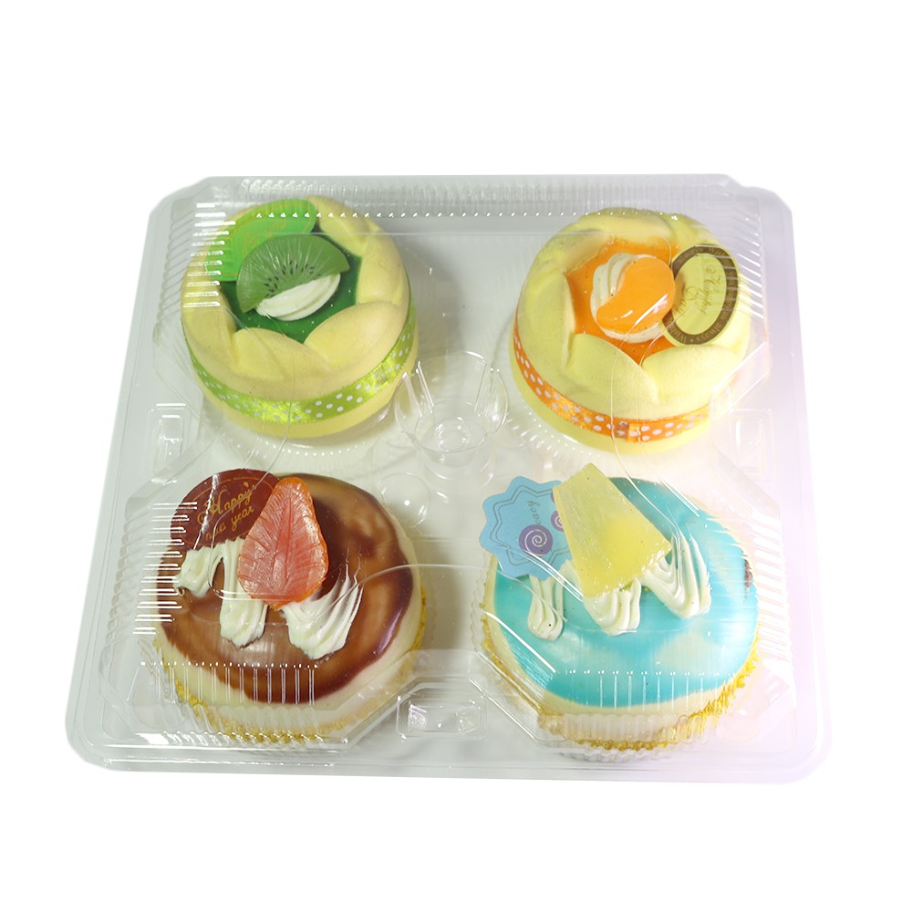 4 Compartment Clear Hinged Cupcake Muffin Carry-Out Container (600 Containers/Lot)