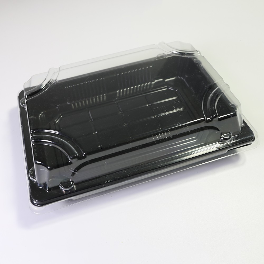 Sushi Platter Take Out Container w/ Black Base Clear Lid 6.5 inches x 4.5 inches (400 Containers/Lot)