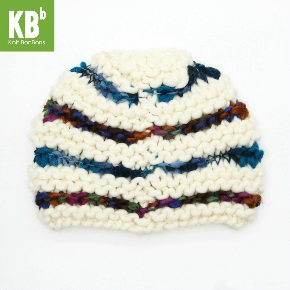 KBB Blue Stripe Mix Pattern Design Knitted Beanie Hat (3 Hats/Lot)
