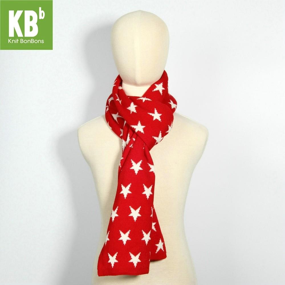 KBB Reversible Red & White Star Pattern Designs Neck Warmer Scarf (3 Scarves/Lot)