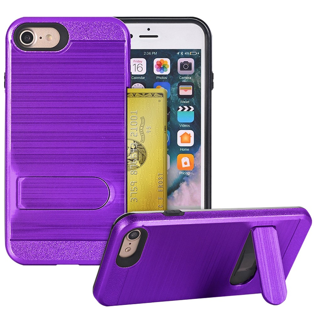 Apple IPhone 7 / IPhone 8 Steel Brushed Shockproof Case With Kickstand and Credit Card Slot Purple