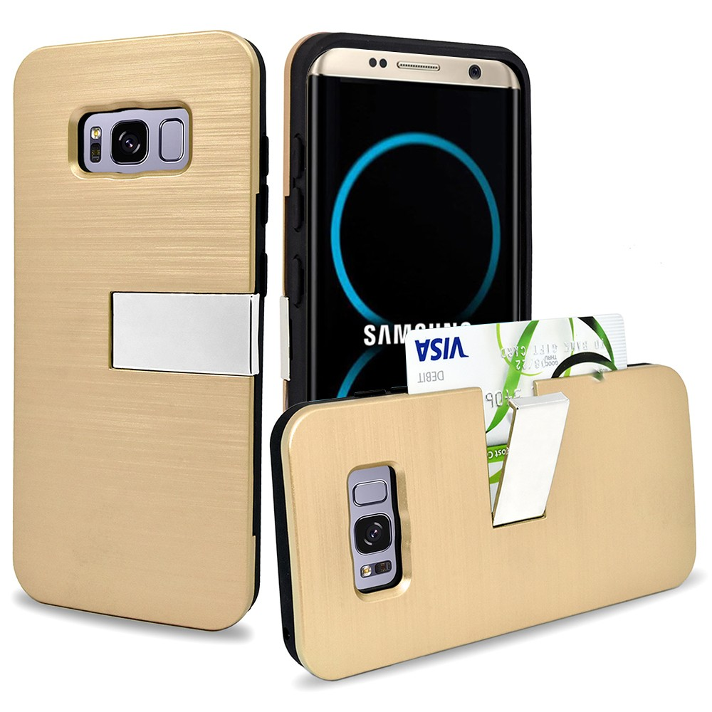 Samsung Galaxy S8 Plus Hybrid Metal Brushed Protective Case with Kickstand and Credit Card Slot Case Gold