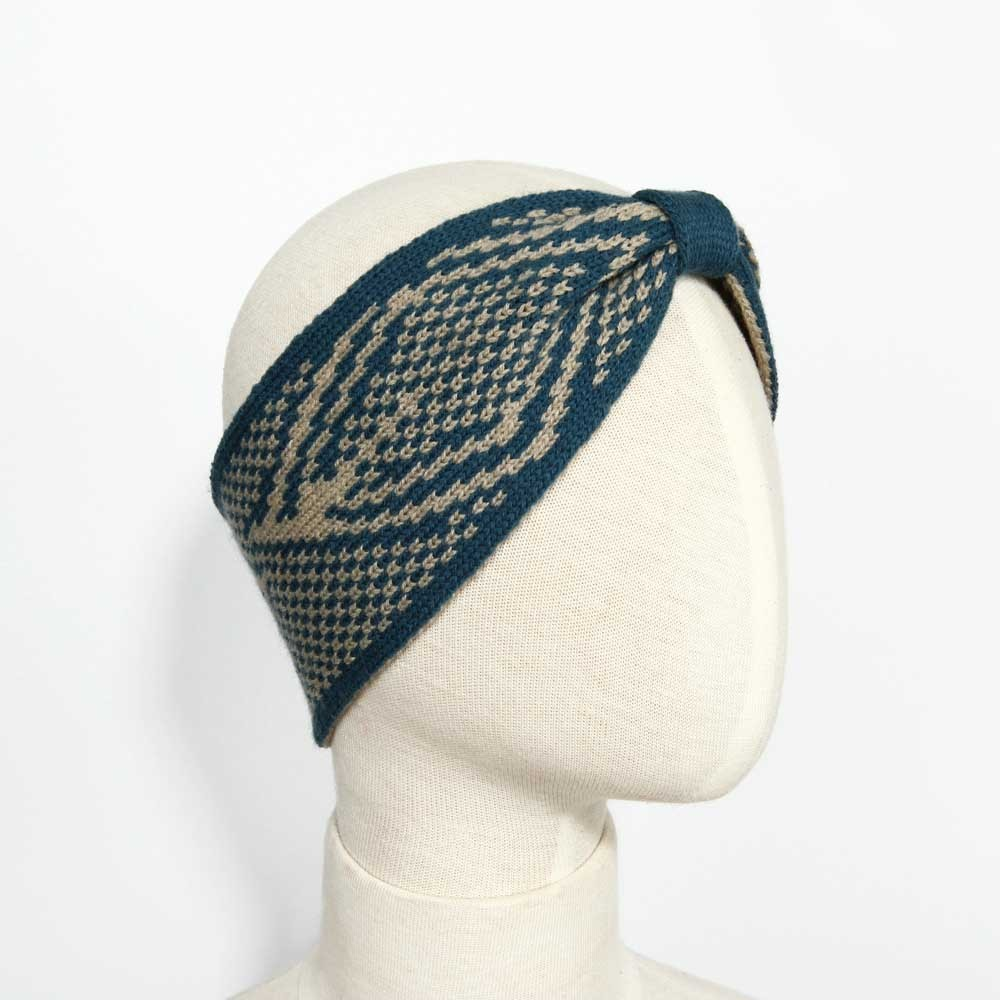 KBB Soft Lambswool Blue and Beige Knotted Knitted Headband (3 Headbands/Lot)