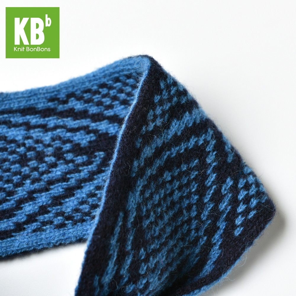KBB Soft Lambswool Sapphire Blue and Black Knotted Knitted Headband (3 Headbands/Lot)