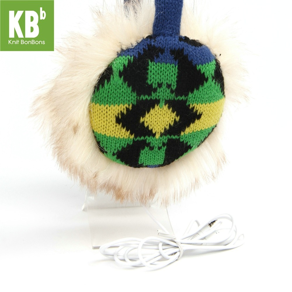 KBB Blue, Green, Yellow & Black Sideway V Pattern Design Earmuffs w/ Audiojack (3 Earmuffs/Lot)